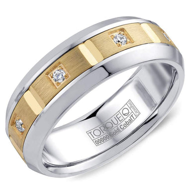 Gents Cobalt & Gold Wedding Band w/ Yellow Gold Inlay & Eight Diamonds CW088MY75 (7.5mm)
