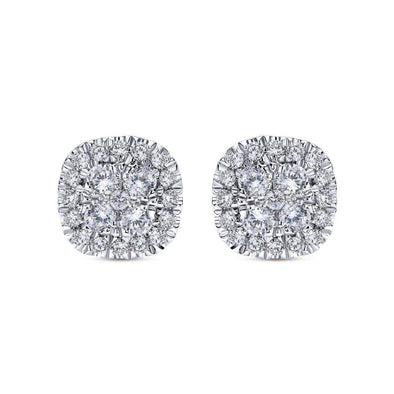 Gabriel NY 14k White Gold Diamond Chic Stud Earrings