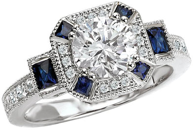 14K Vintage Milgrain Detail Sapphire and Diamond Halo Engagement Ring
