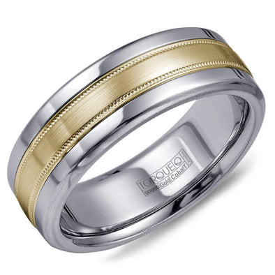 Gents Cobalt & Gold Wedding Band w/ Brushed Yellow Gold Center & Milgrain Detailing CW020MY75 (7.5mm)