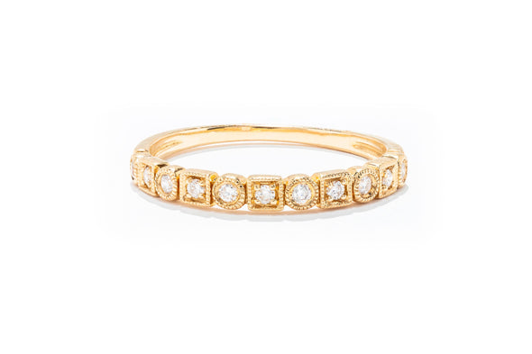 Adele Diamond 14K Yellow Gold .11ctw Diamond Stackable Band Ring FR1084Y