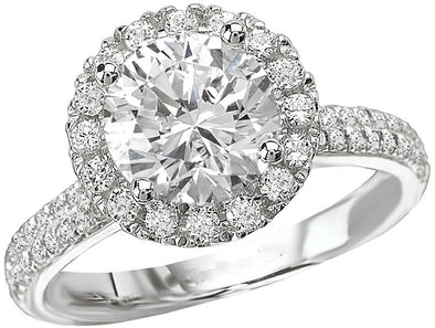 14K Contemporary Double Band Diamond Halo Engagement Ring