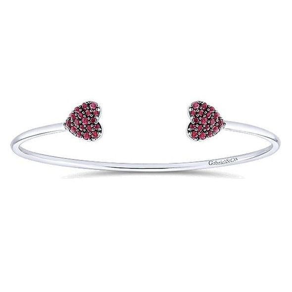 925 Silver And Ruby Heart Bracelet