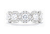 Diamonds Forever 14K White Gold Five Stone Diamond Halo Women's Wedding Band