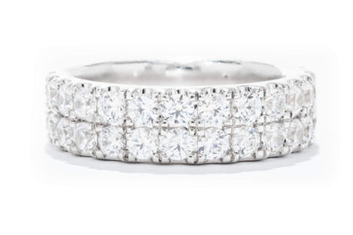 18K White Gold 2ct Diamond Two Row Wedding Band