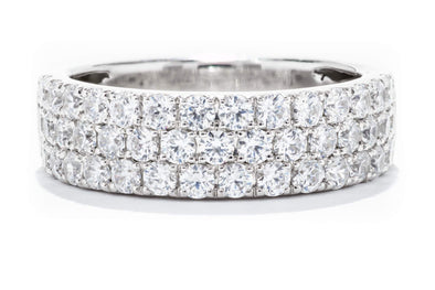 Diamonds Forever 18K White Gold 2ctw Diamond Three Row Wedding band