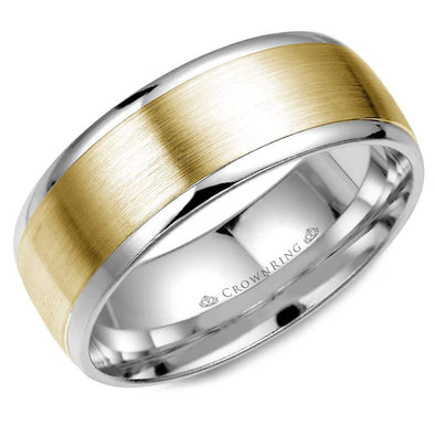 Gents 14K White & YG Wedding Band w/ Brushed YG Center WB-7068 (8mm)