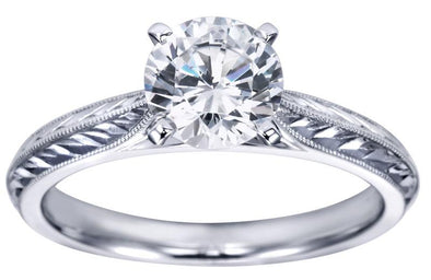 14K White Gold Vintage Solitaire Filigree Detail Moissanite Engagement Ring