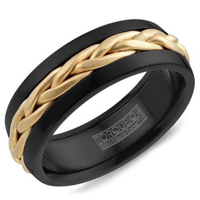 Gents Wedding Band w/ Braided Yellow Gold Center CB085MY75 (7.5mm)