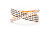 Adele Diamond 14K Rose Gold .79ctw Three Row Champagne with Overlapping White Diamond Row Ring JR8779DC