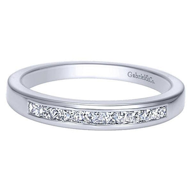 Ladies 14K White Gold Princess Cut Straight Anniversary Band