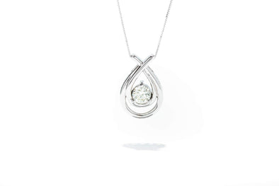 Adele Diamond 14K White Gold .75ct Diamond Teardrop Pendant Necklace