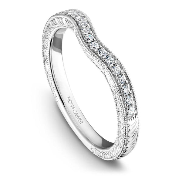 Ladies Noam Carver Engraved 14K White Gold Wedding Ring Setting with 16 Round Diamonds B050-01B
