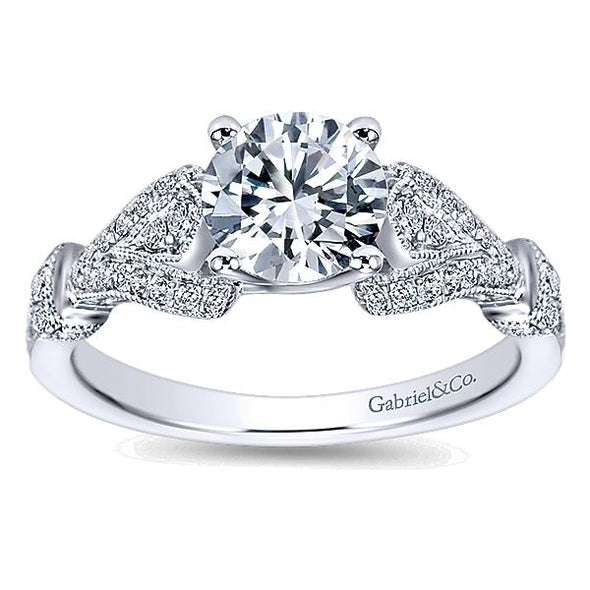 Straight Diamond Pave Filigree Engagement Ring