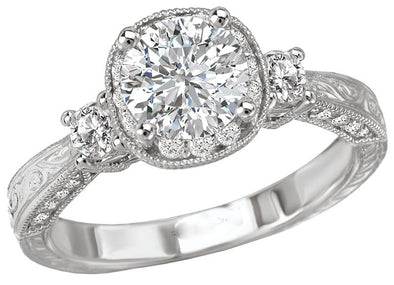 14K Vintage Three-Stone Diamond Halo Engagement Ring