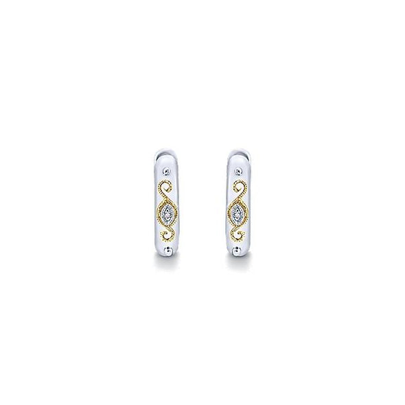 925 Silver/18K Yellow Gold Diamond Huggie Hoop Earrings