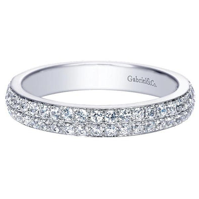 Ladies 14K White Gold Straight Double Strand Anniversary Band