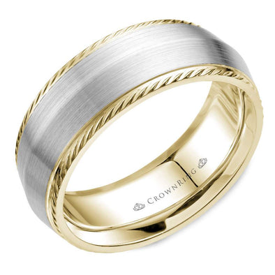 Gents 14K White & YG Wedding Band w/ Knife Edge & Milgrain Detailing WB-058R8WY (8mm)