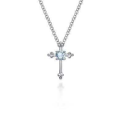 Gabriel NY Sterling Silver Cross Aquamarine Necklace