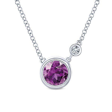 Gabriel NY 925 Silver Fashion Diamond Amethyst Necklace