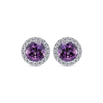 Gabriel NY 14k White Gold Amethyst Stud with Diamond Halo Earrings