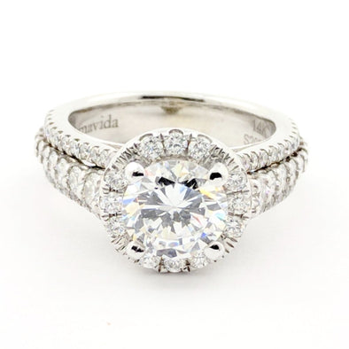 18K Gabriel NY White Gold Round CZ Center Halo Engagement Ring