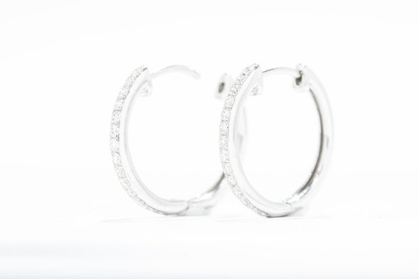 Royal Jewelry 14k White Gold 1/3ctw 15mm Diamond Hoop Earrings WC5835D