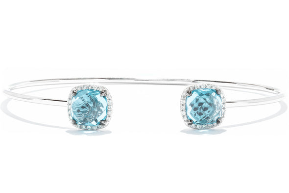 Royal Jewelry 14K White Gold Diamond & Blue Topaz Bangle Bracelet WC699B