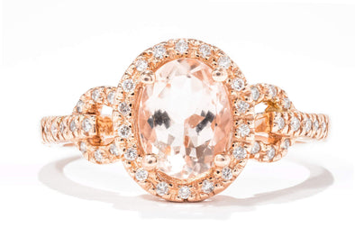 Royal Jewelry 14K Rose Gold 1ct Morganite & .18ctw Diamond Halo Engagement Ring PC2827M