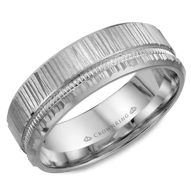 Gents 14K WG Wedding Band w/ Bark Finish & Milgrain Detailing WB-7924 (7mm)