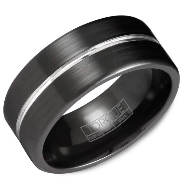 Gents Black & White Cobalt Wedding Band w/ Brushed Finish & White Cobalt Center CBB-7013 (9mm)