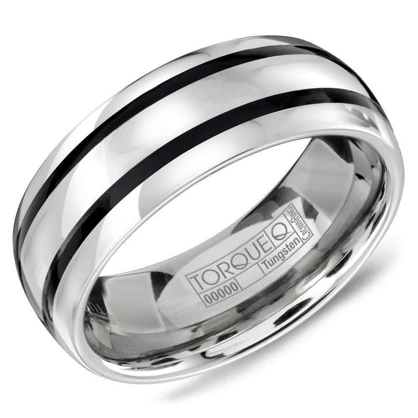Gents Tungsten Carbide Wedding Band w/ Black Enamel Inlay TU-0003 (8mm)