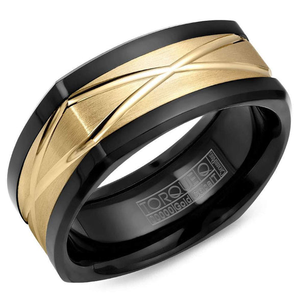 Gents Wedding Band w/ Yellow Carved Gold Center CB077MY9 (9mm)