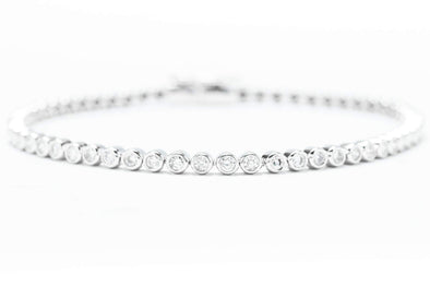 Royal Jewelry 14K White Gold .9ctw Diamond Bezel and Bead Style Bracelet WC8323D