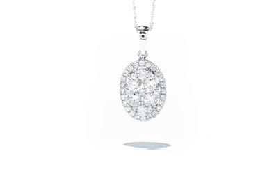14K White Gold 1ctw Diamond Cluster Pendant Necklace WC8280D