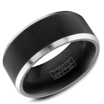 Gents Black & White Cobalt Wedding Band w/ White Cobalt Edges CBB-0003 (9mm)