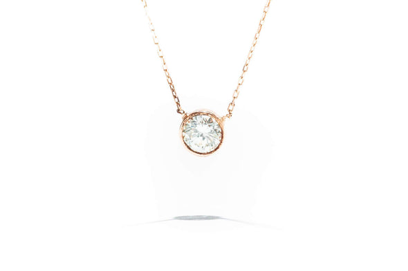 Adele Diamond 14 Karat Rose Gold 1/2ct Round Diamond Bezel Necklace 4644