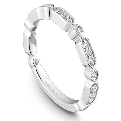 Noam Carver Platinum Stackable Ring - 21 Round Diamonds STB15-1WZ-D