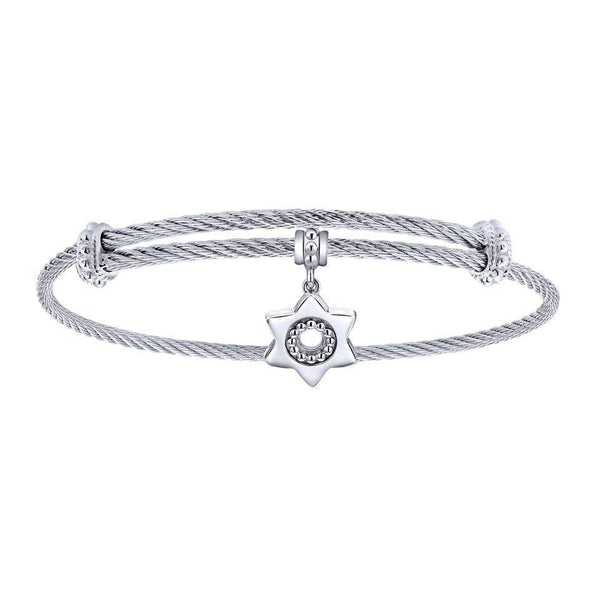 Gabriel NY 925 Silver/Stainless Steel Star of David Charm Bangle