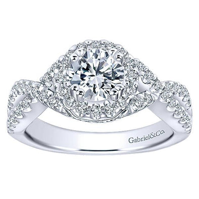 14K Contemporary Twist Split Shank Halo Diamond Engagement Ring