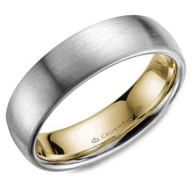 Gents 14K White & YG Wedding Band w/ Sandpaper Finish & YG Inlay WB-039C6WY (6mm)