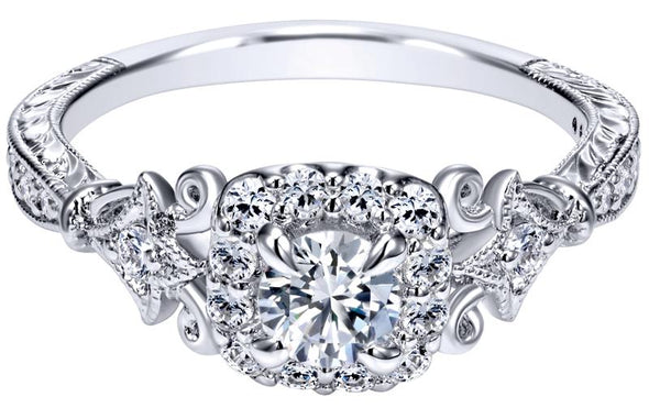 14K White Gold Victorian Filigree Diamond Halo Engagement Ring