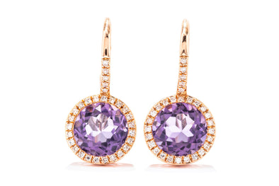Adele Diamond 14K Rose Gold 2.63ct Amethyst & .15ct Diamond Halo Earrings E01952