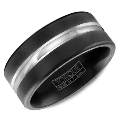 Gents Black & White Cobalt Wedding Band w/ White Cobalt Center CBB-0006 (9mm)