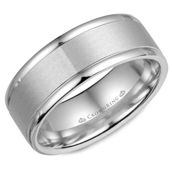 Gents 14K WG Wedding Band w/ Sandblast Center WB-7134 (8mm)