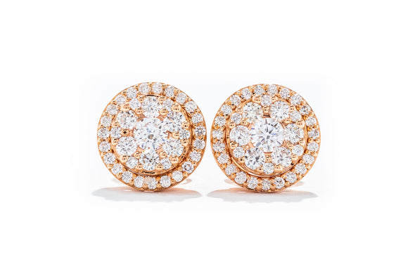 Adele Diamond 18k Rose Gold .77ctw Diamond Cluster Stud Earrings