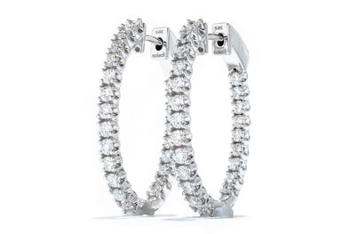 Adele Diamond 14K White Gold 1.06ct Diamond Hoop Earrings IGC064504