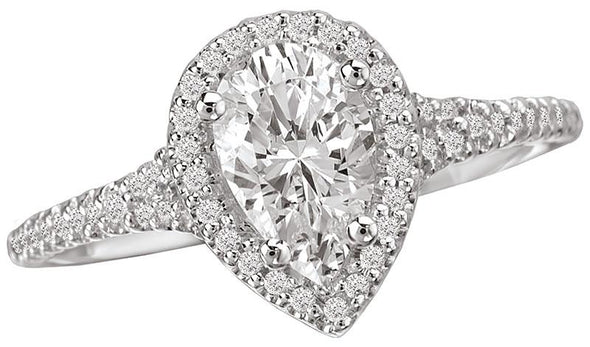 14K Contemporary Split Shank Pear Halo Diamond Engagement Ring