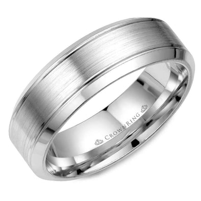 Gents 14K WG Wedding Band w/ Brushed Center WB-9089 (7mm)