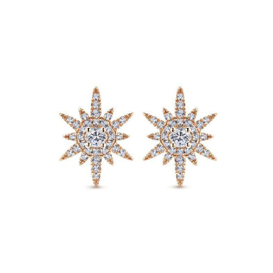 Gabriel NY 14k Rose Gold Diamond Starburst Stud Earrings